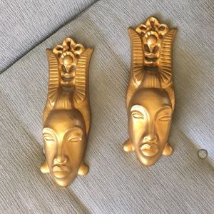 Vintage MCM Gold Face Sconces Pair